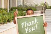 Boy Giving Thumbs Up Holding Thank You Chalk Board — Stock Photo