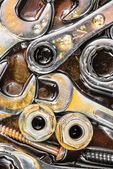 Wrenches, nuts, bolts and screws — Stock Photo