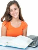 Beautiful hispanic teenage  girl studying — 图库照片