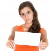 Hispanic teen holding a blank sign — Stock Photo