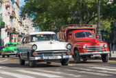 Old classic cars used taxis — Stock Photo