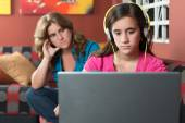 Girl ignoring her worried mother — Stock Photo