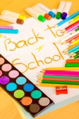 Art supplies framing the words BACK TO SCHOOL — Fotografia Stock