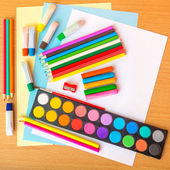 Colorful art supplies — Stock Photo
