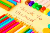 Art supplies framing the words BACK TO SCHOOL — Stock Photo