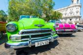 Colorful vintage american cars — Stock Photo
