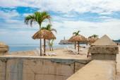 Art installation resembling a tropical beach at the Havana Bienn — Stock Photo