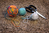 Balls of Yarn and Scissors for Crafts — Stock Photo