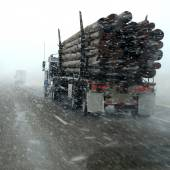 Truck Driving in Winter Storm — Stock Photo