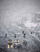 Driving in Severe Snow Storm — Stock Photo