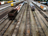Railroda Tracks and Cars — Stockfoto