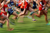 Running a Race in Motion — Stock Photo