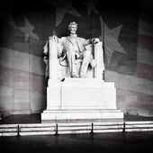 Lincoln Memorial and American Flag — Stock Photo