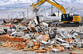 Demolition of Building Collapse Bricks Wall — Stock Photo