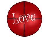 Textured Paper of the Word Love and Crosshairs — Stock Photo