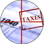 Tax Forms with Crosshairs Destroy Taxes — Stock Photo