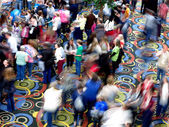 Crowds of People Moving Blurred Convention Meeting Hall — Stock Photo