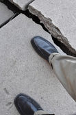 Walking on Broken Dangerous Sidewalk — Stock Photo