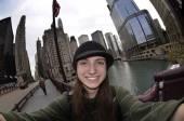 Teen Girl Tourist Selfie Chicago — Stock Photo