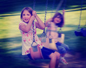 Little Girls Playing at Park Instagram — Stock Photo