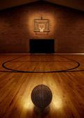 Basketball and Basketball Court — Stock Photo