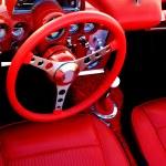 Red Sports Car Interior Steering Wheel — Stock Photo #82369048
