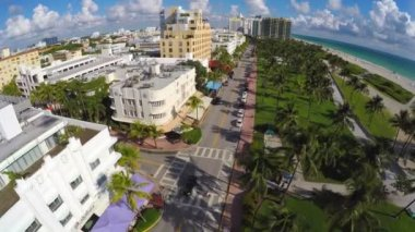 Aerial Miami Beach Ocean Drive — Stock Video