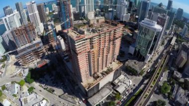 Aerial video Brickell City Center construction site — Stock Video