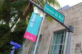 Art Basel advertisement sign Miami Beach — Stock Photo