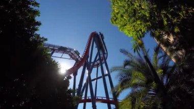 Theme park roller coaster — Stock Video