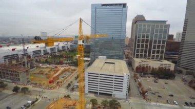 Downtown Houston Texas cranes — Stock Video