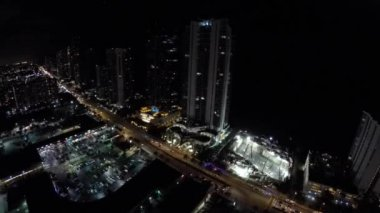 Aerial night construction site — Stockvideo