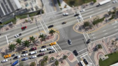 Biscayne Boulevard aerial tilt shift — Stock Video