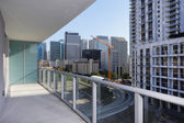 Balcony with a view of the city — Stockfoto