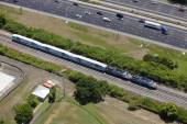 Aerial photo of a train on the tracks — Stock Photo