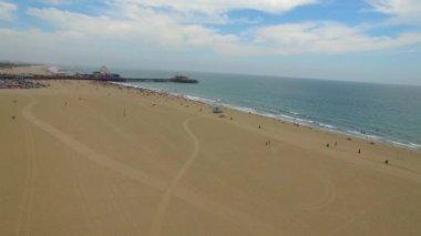 Aerial video Santa Monica Beach — Stock Video