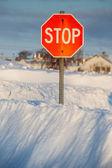 Vintern stoppskylt — Stockfoto