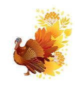 Carta di ringraziamento con la turchia — Vettoriale Stock