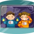 Постер, плакат: Pair of Kiddie Astronauts