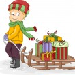 Boy Pulling a Sled with Presents — Stock Photo #58947133
