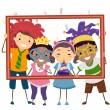 Party Kids With Picture Frame — Stock Photo #58947803