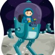 Kiddie Astronaut in a Space Robot — Stock Photo #58948415