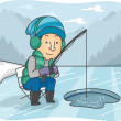Man Ice Fishing — Stock Photo #58948729