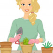 Girl Planting Plant in a Pot — Stock Photo #58948783