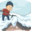 Man Shoveling Snow Off of Roof — Stock Photo #58949539