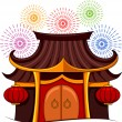 Small Pagoda With Fireworks — Stock Photo #58949741