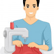 Man Using a Sewing Machine — Stock Photo #58949989
