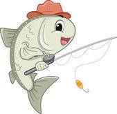 Salmon Mascot Holding a Fishing Reel — Stock Photo