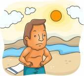 Unhappy Sunburnt Man — Stock Photo