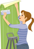 Woman Installing Wallpaper — Stock Photo